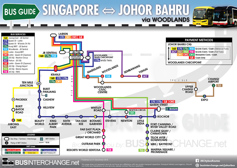 Easy route map for cross-border public bus services between Singapore and Johor Bahru (JB) via Woodlands