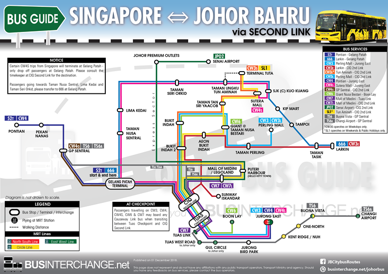 Bus Services From Singapore to Johor Bahru via Second Link