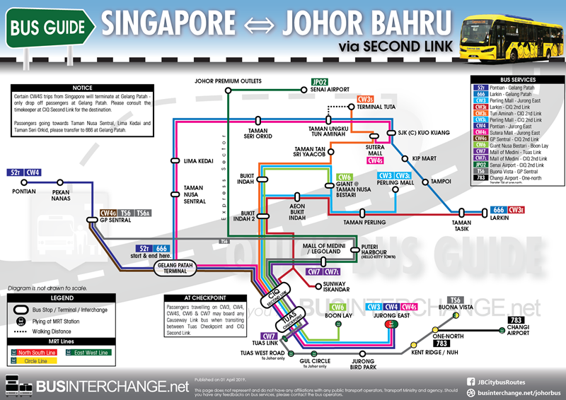 Easy route map of bus services between Singapore and Johor Bahru via Tuas / Second Link