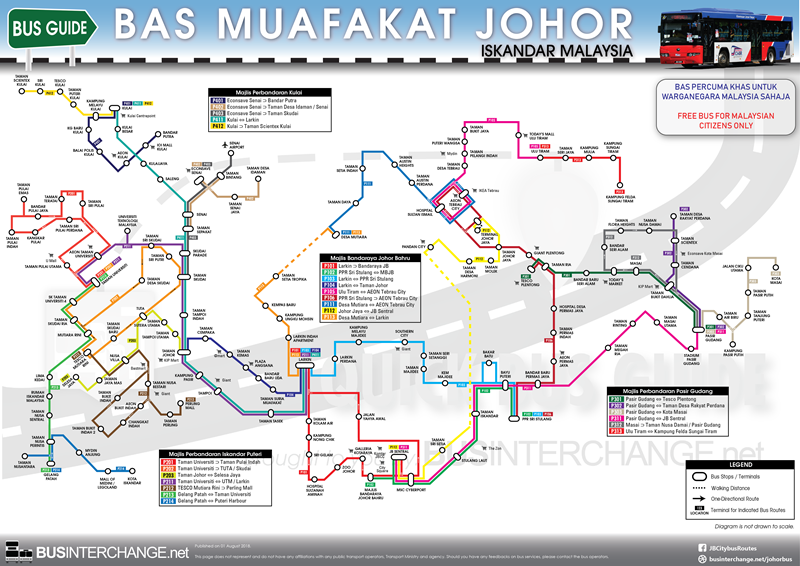 Overall route map for Bas Muafakat Johor Bus Services in Johor Bahru