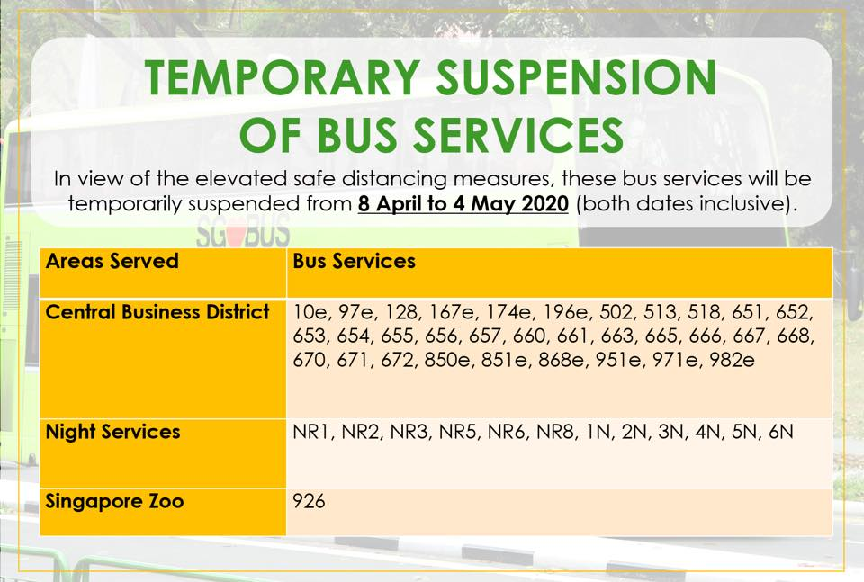 Official consolidated information from Land Transport Authority on temporary bus service suspension during COVID-19 Circuit Breaker measures.