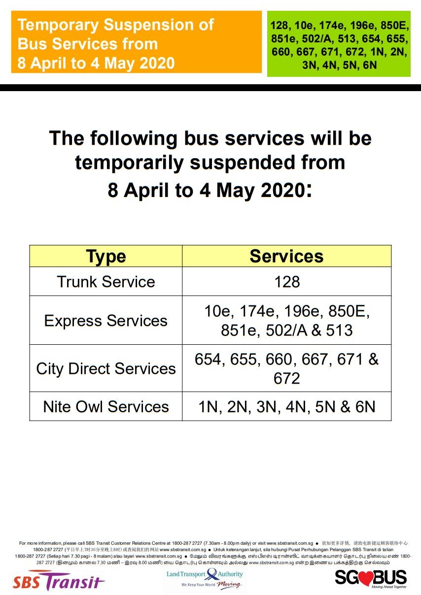 Official announcement from SBS Transit on temporary bus service suspension during COVID-19 Circuit Breaker measures.