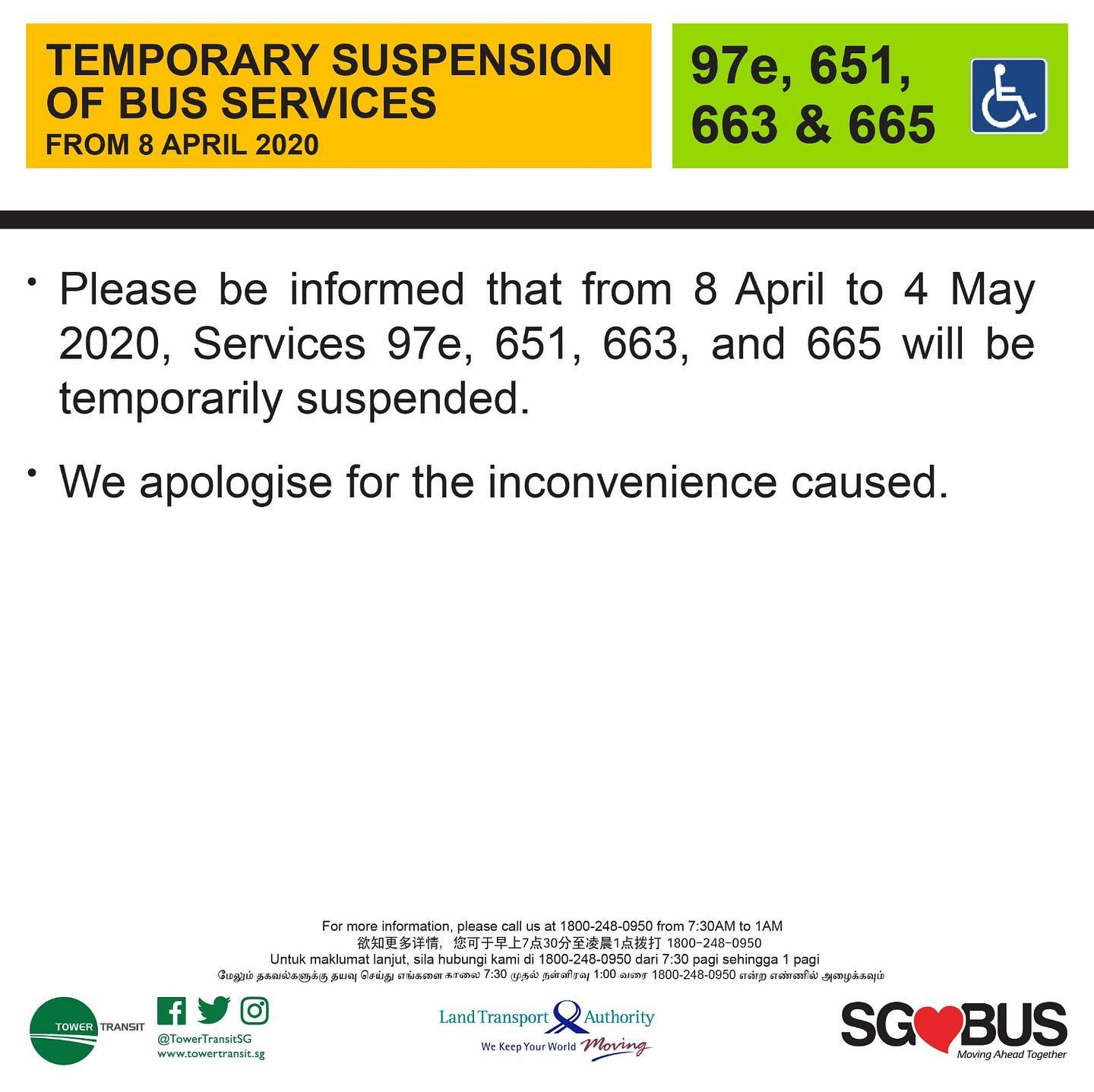 Official announcement from Tower Transit Singapore on temporary bus service suspension during COVID-19 Circuit Breaker measures.