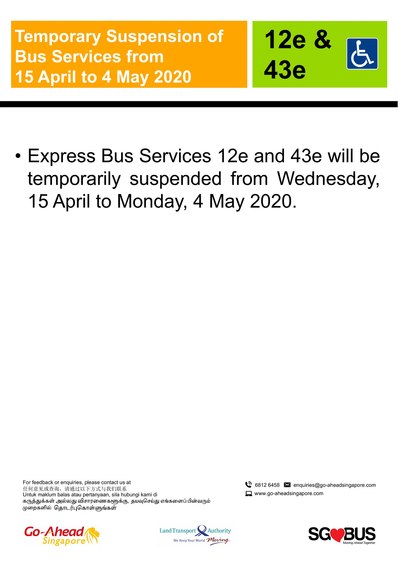 Official announcement from Go-Ahead Singapore on temporary bus service suspension during COVID-19 Circuit Breaker measures 15 April 2020.
