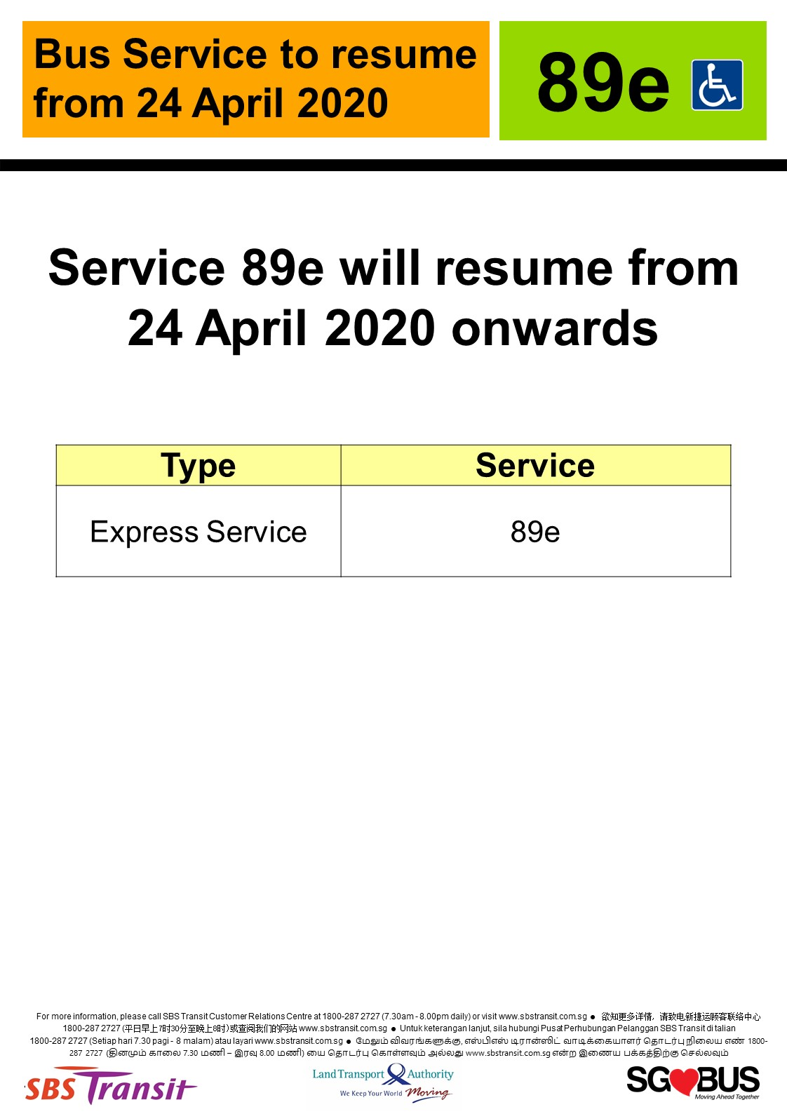 Official announcement from SBS Transit on resumption of express bus service 89e from 24 April 2020.