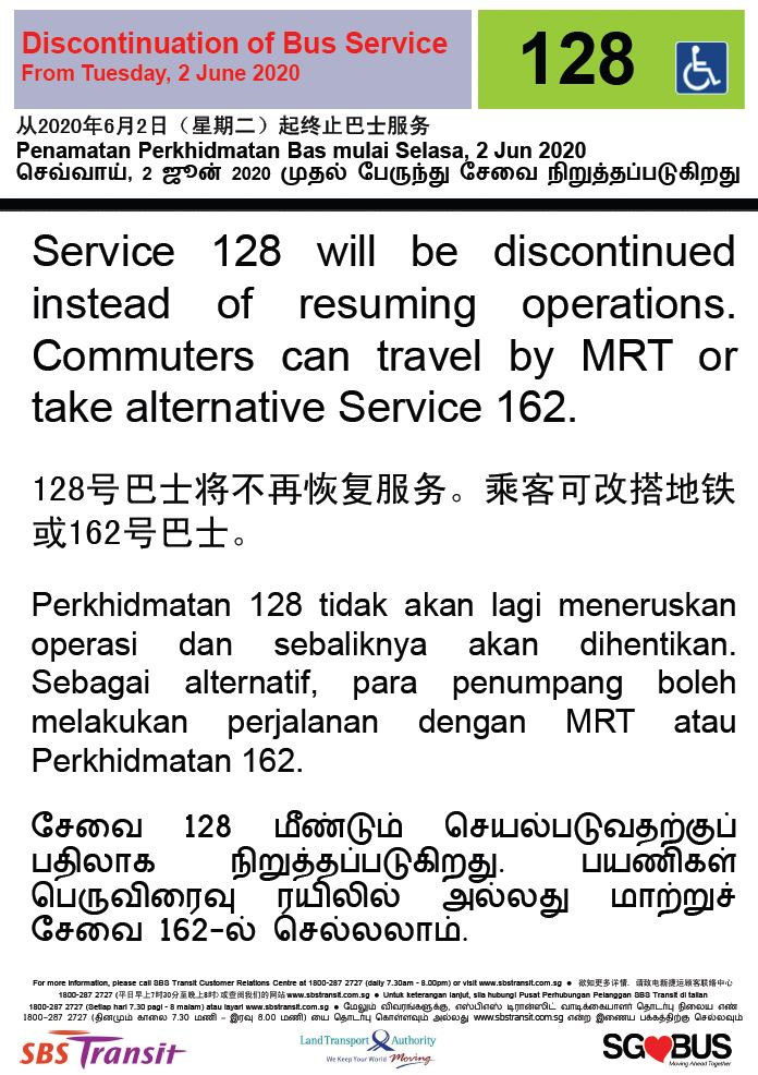 Official announcement from SBS Transit on the discontinuation of peak hour bus service 128.